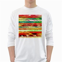 Stripes Color Oil White Long Sleeve T Shirts