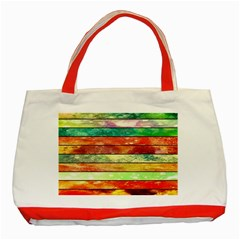 Stripes Color Oil Classic Tote Bag (Red)