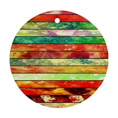 Stripes Color Oil Round Ornament (Two Sides)