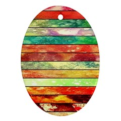 Stripes Color Oil Oval Ornament (Two Sides)