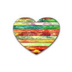 Stripes Color Oil Heart Coaster (4 Pack)