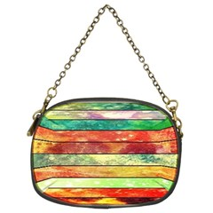 Stripes Color Oil Chain Purses (two Sides)
