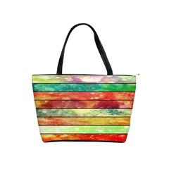 Stripes Color Oil Shoulder Handbags