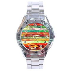 Stripes Color Oil Stainless Steel Analogue Watch