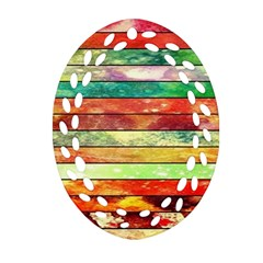 Stripes Color Oil Oval Filigree Ornament (Two Sides)
