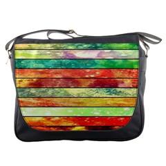 Stripes Color Oil Messenger Bags