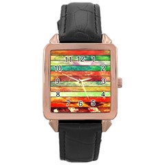 Stripes Color Oil Rose Gold Leather Watch