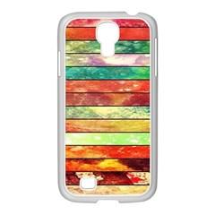 Stripes Color Oil Samsung GALAXY S4 I9500/ I9505 Case (White)