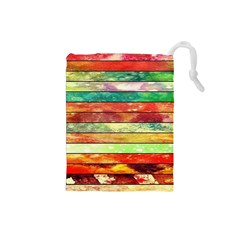 Stripes Color Oil Drawstring Pouches (Small)