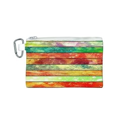 Stripes Color Oil Canvas Cosmetic Bag (S)