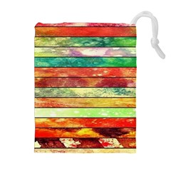 Stripes Color Oil Drawstring Pouches (extra Large)