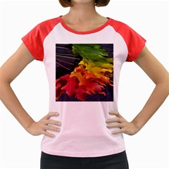 Green Yellow Red Maple Leaf Women s Cap Sleeve T Shirt