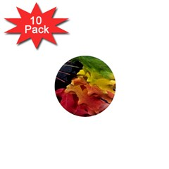 Green Yellow Red Maple Leaf 1  Mini Magnet (10 pack)