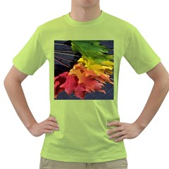 Green Yellow Red Maple Leaf Green T Shirt