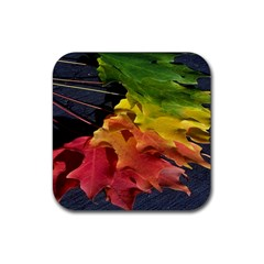 Green Yellow Red Maple Leaf Rubber Square Coaster (4 Pack)