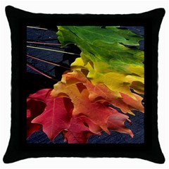 Green Yellow Red Maple Leaf Throw Pillow Case (Black)