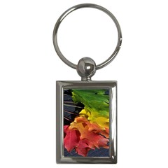 Green Yellow Red Maple Leaf Key Chains (rectangle)
