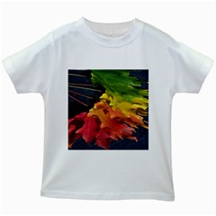 Green Yellow Red Maple Leaf Kids White T-Shirts
