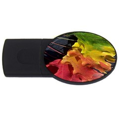 Green Yellow Red Maple Leaf USB Flash Drive Oval (2 GB)