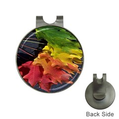Green Yellow Red Maple Leaf Hat Clips With Golf Markers