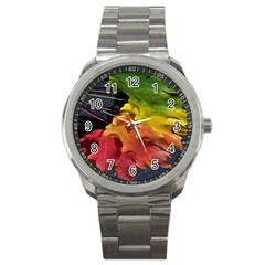 Green Yellow Red Maple Leaf Sport Metal Watch