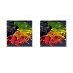Green Yellow Red Maple Leaf Cufflinks (Square)