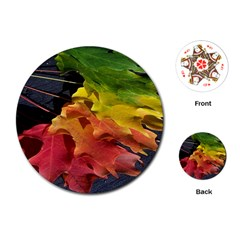Green Yellow Red Maple Leaf Playing Cards (round)