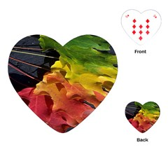 Green Yellow Red Maple Leaf Playing Cards (Heart)