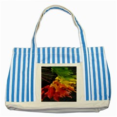 Green Yellow Red Maple Leaf Striped Blue Tote Bag