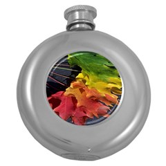 Green Yellow Red Maple Leaf Round Hip Flask (5 oz)