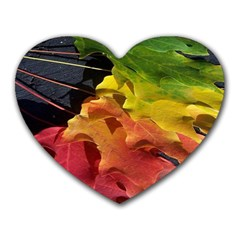 Green Yellow Red Maple Leaf Heart Mousepads