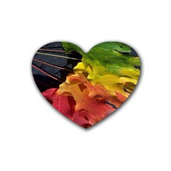 Green Yellow Red Maple Leaf Heart Coaster (4 Pack)