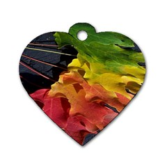 Green Yellow Red Maple Leaf Dog Tag Heart (two Sides)