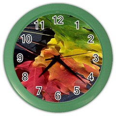 Green Yellow Red Maple Leaf Color Wall Clocks
