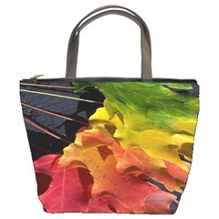Green Yellow Red Maple Leaf Bucket Bags