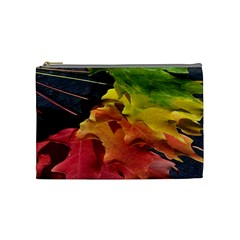 Green Yellow Red Maple Leaf Cosmetic Bag (Medium)