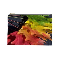 Green Yellow Red Maple Leaf Cosmetic Bag (Large)