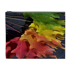Green Yellow Red Maple Leaf Cosmetic Bag (XL)