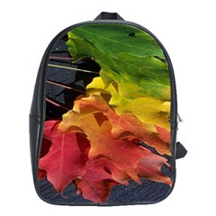 Green Yellow Red Maple Leaf School Bags(large)