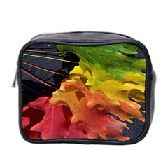 Green Yellow Red Maple Leaf Mini Toiletries Bag 2-Side