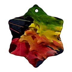 Green Yellow Red Maple Leaf Ornament (Snowflake)