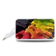 Green Yellow Red Maple Leaf Portable Speaker (White)