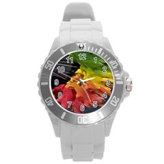 Green Yellow Red Maple Leaf Round Plastic Sport Watch (L)