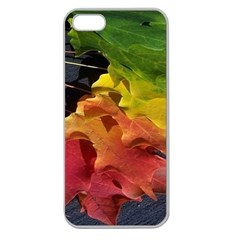 Green Yellow Red Maple Leaf Apple Seamless iPhone 5 Case (Clear)