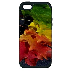 Green Yellow Red Maple Leaf Apple iPhone 5 Hardshell Case (PC+Silicone)