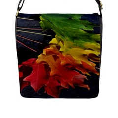 Green Yellow Red Maple Leaf Flap Messenger Bag (l)