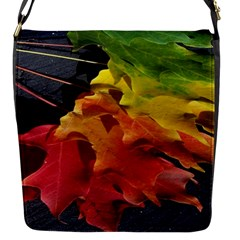 Green Yellow Red Maple Leaf Flap Messenger Bag (S)