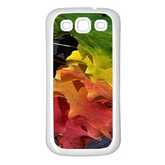 Green Yellow Red Maple Leaf Samsung Galaxy S3 Back Case (white)