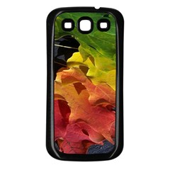 Green Yellow Red Maple Leaf Samsung Galaxy S3 Back Case (Black)