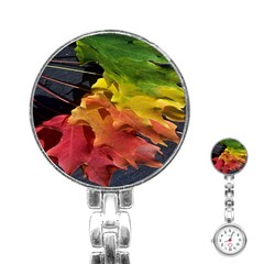 Green Yellow Red Maple Leaf Stainless Steel Nurses Watch